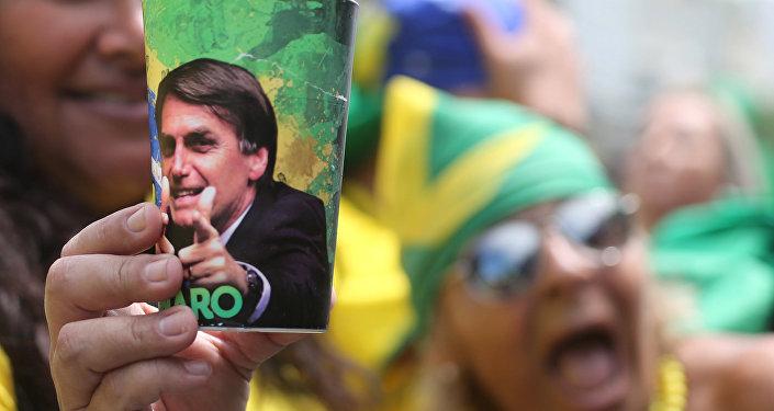 A supporter of Jair Bolsonaro