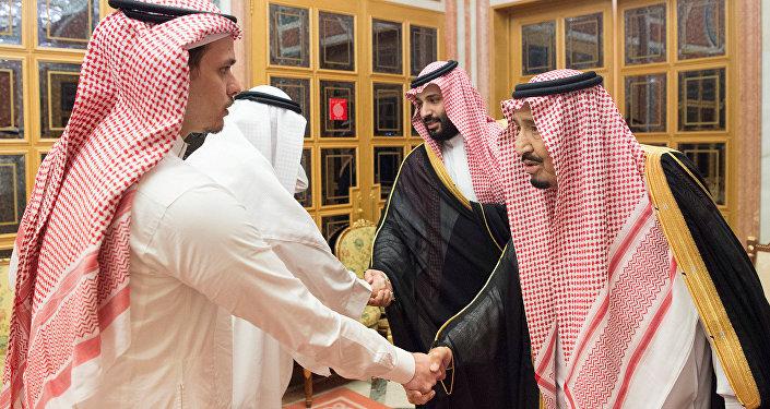 Saudi Arabia's King Salman bin Abdulaziz Al Saud , Saudi Crown Prince Mohammed bin Salman receives Khashoggi family in Riyadh, Saudi Arabia October 23, 2018.