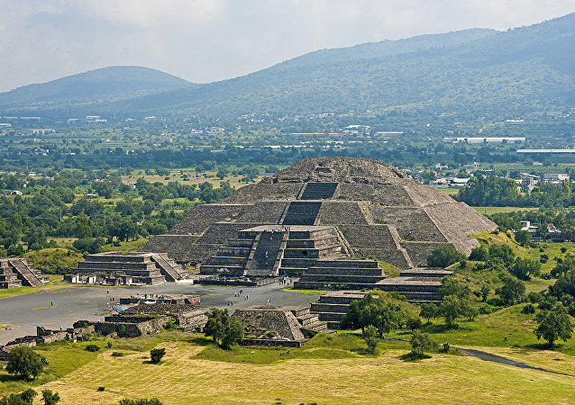 Mexican landscape with Pyramid of the Moon, Teotihuacan