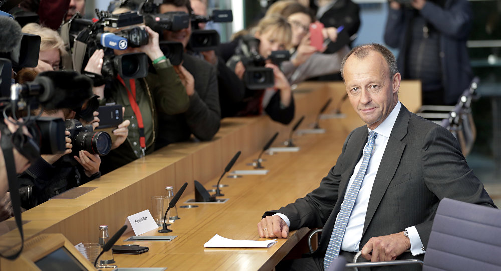 Friedrich Merz, right, member of the German Christian Democratic Party
