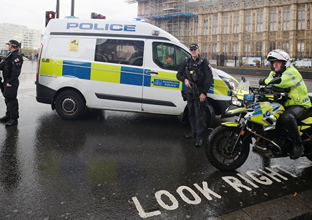 Armed and motorcycle police officers stand next to the Houses of Parliament after an area of the Victoria Embankment was cordoned off, in London, Britain, October 17, 2018.
