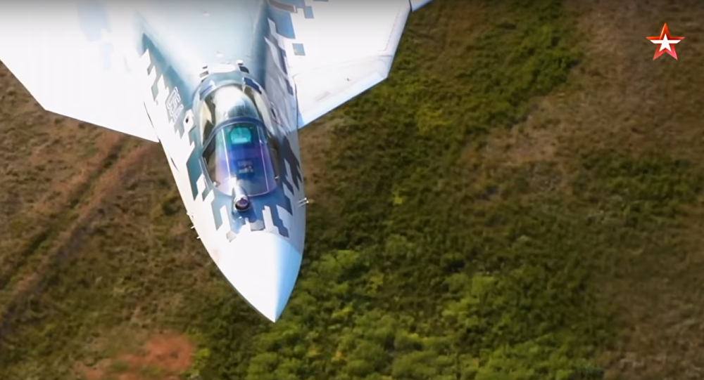 Su-57 performing super-low flight. Still from Zvezda broadcast.