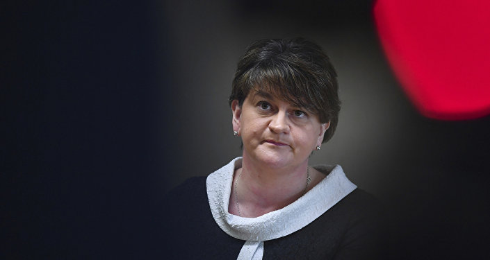 Leader of the Democratic Unionist Party Arlene Foster arrives for a media conference at the European Parliament in Brussels on Tuesday, March 6, 2018.