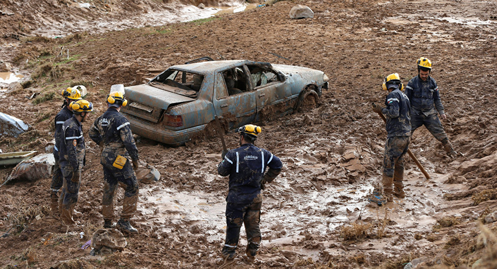 Jordan Floods Civil Defence Members