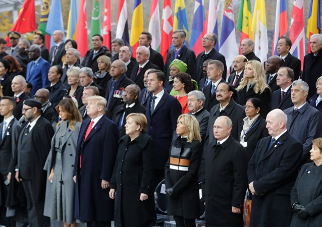 The commemoration ceremony for Armistice Day, 100 years after the end of the First World War, in Paris