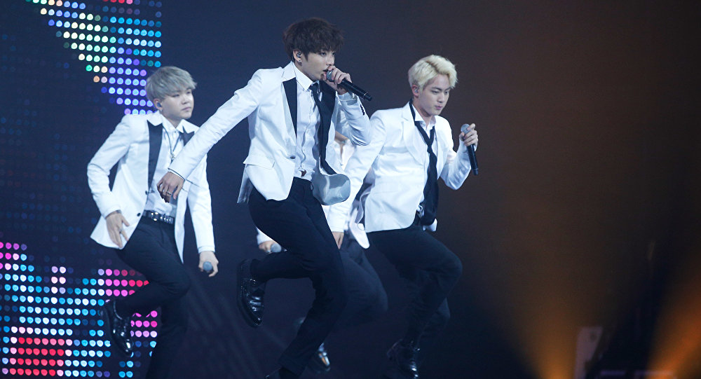 South Korean boy band BTS performs during the KCON 2016, at the Bercy Arena, in Paris, Thursday, June 2, 2016