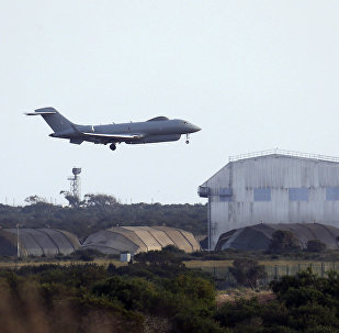 An aircraft takes off from royal air forces base in Akrotiri, near costal city of Limassol, Cyprus, on Thursday, April 12, 2018