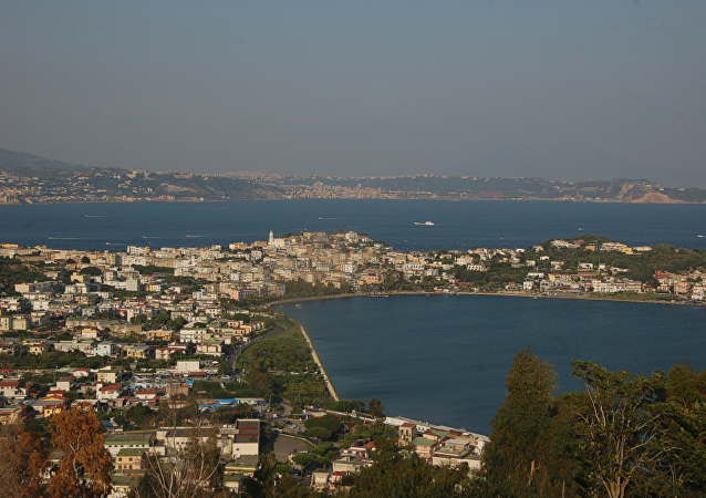 Campi Flegrei (Province of Naples). Bacoli; in the background Bagnoli (suburb of Naples) and the island of Nisida.