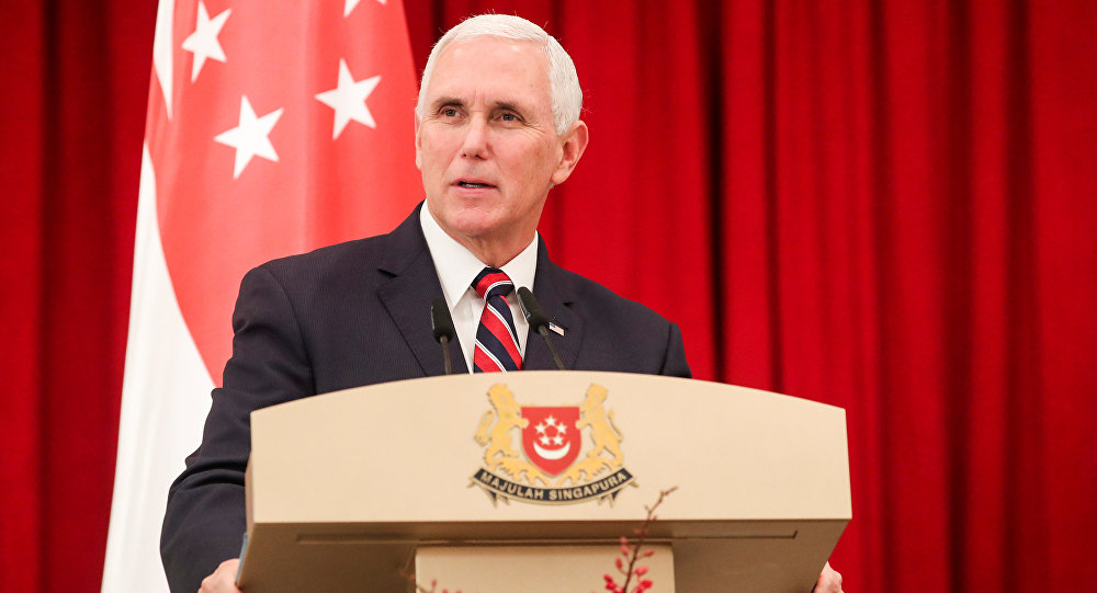U.S. Vice President Mike Pence speaks at a joint press conference at the Istana or Presidential Palace in Singapore, November 16, 2018
