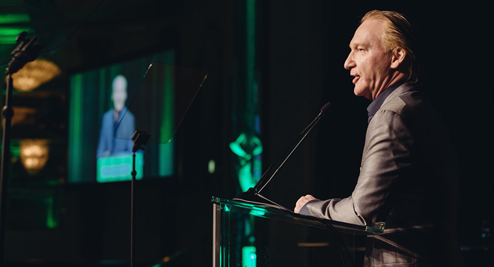 Bill Maher, winner of the First Amendment Award, speaks to the crowd at the 26th Annual Literary Awards Festival at the Beverly Wilshire Hotel on Wednesday, September 28, 2016, in Beverly Hills, Calif