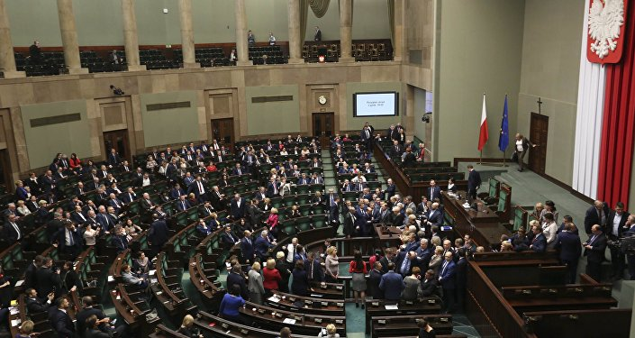 Poland's Lawmakers Protesting at Plenary Hall in Parliament Building