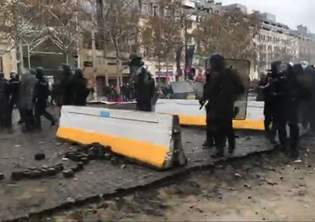 Yellow vests mass protests against the rise in fuel prices in the French capital of Paris