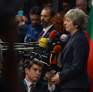 Britain's Prime Minister Theresa May arrives at the European Council meeting, in Brussels, Belgium, October 17, 2018.