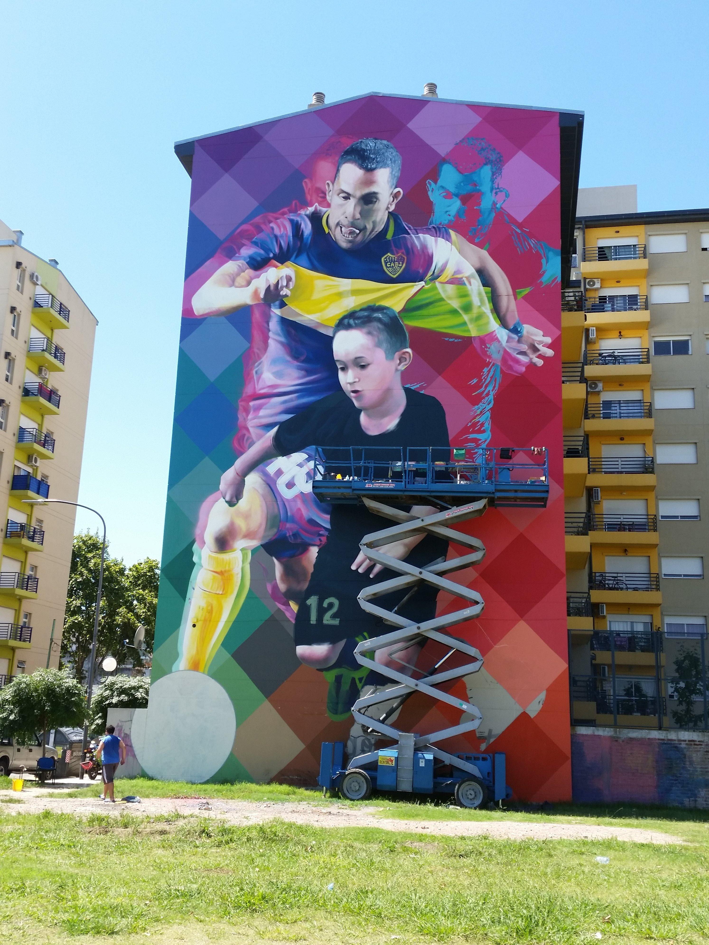 A mural of Carlos Tevez near Boca Juniors El Bombonero stadium in Buenos Aires