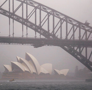 A boat passes under the Sydney Harbour Bridge and in front of the Sydney Opera House as strong winds and heavy rain hit the city of Sydney, Australia, November 28, 2018