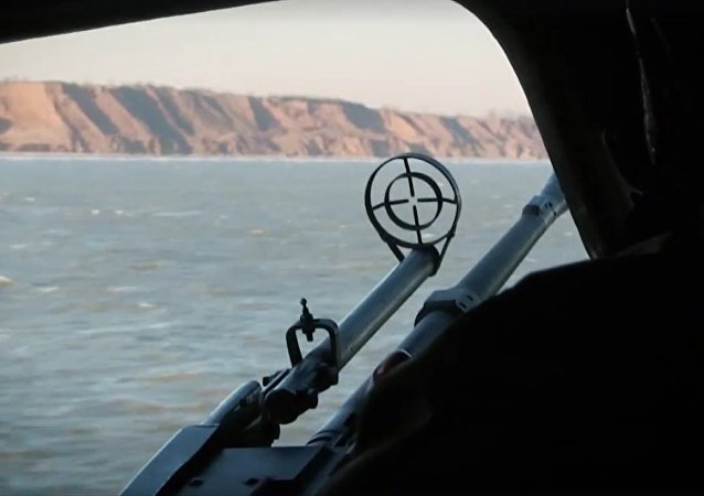Still from video of Ukrainian Azov Sea drills.