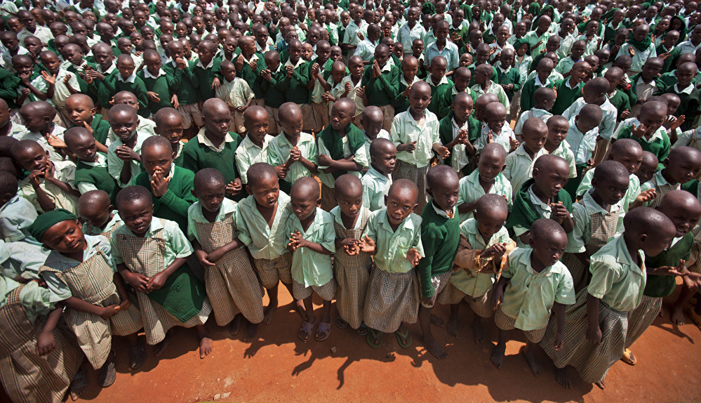 Children at a school in Kenya which caters for orphans who lost their parents to HIV/AIDS