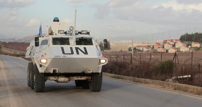 U.N. peacekeepers of the United Nations Interim Force in Lebanon (UNIFIL) patrol in Kfar Kila village in south Lebanon, near the border with Israel