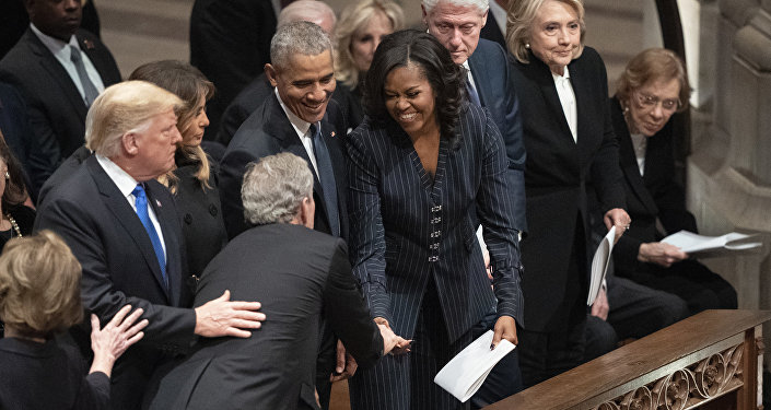 President George W. Bush and wife Laura Bush greets President Donald Trump, first lady Melania Trump, former President Barack Obama, Michelle Obama, former President Bill Clinton, former Secretary of State Hillary Clinton, former President Jimmy Carter, and Rosalynn Carter during a State Funeral for former President George H.W. Bush at the National Cathedral, Wednesday, Dec. 5, 2018, in Washington.