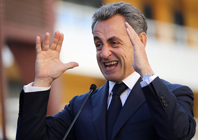 French former president Nicolas Sarkozy gestures as he delivers a speech during the inauguration of Charles Pasqua en Philippe Seguin streets on November 16, 2018 in Nice, southeastern France