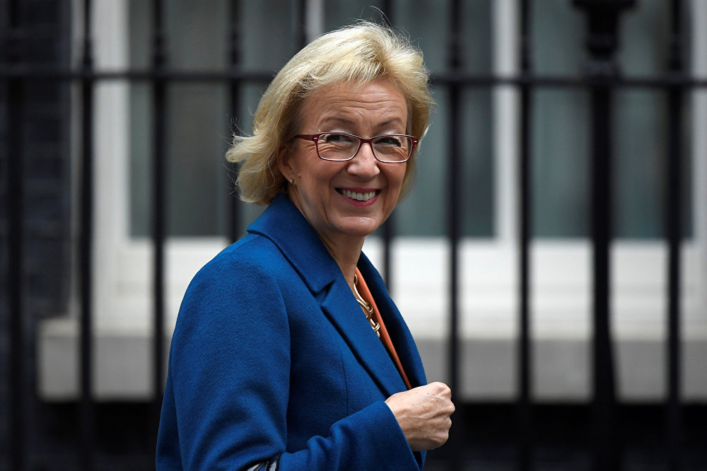 The Leader of the House of Commons, Andrea Leadsom, arrives in Downing Street in central London, Britain
