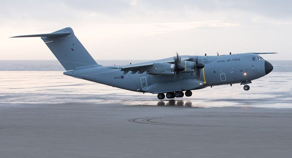 RAF A400M lands on Pembrey Beach, Wales