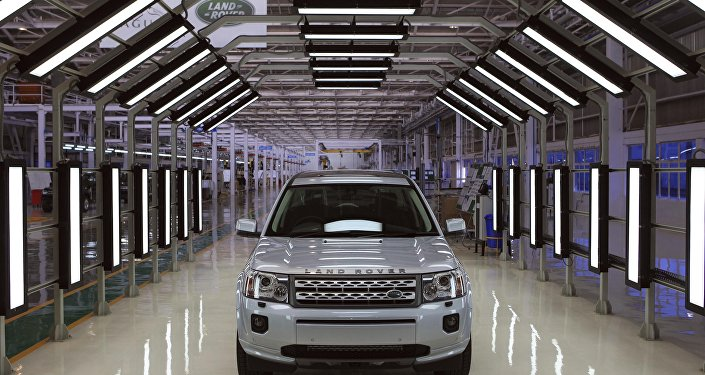 A Jaguar Land Rover car sits at an assembly plant in Pune, India