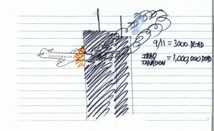 Mohiussunnath Chowdhury also drew this image of the 9/11 attacks with comments on the right contrasting the death toll with that in Iraq