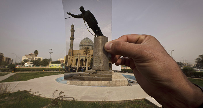 A general view of Firdous Square at the site of an Associated Press photograph taken by Jerome Delay as the statue of Saddam Hussein is pulled down by U.S. forces and Iraqis on April 9, 2003.