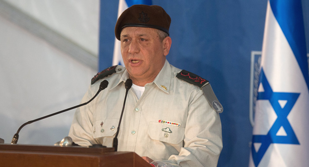 Israel's new Chief of Staff Gadi Eisenkot delivers a speech during his swearing-in ceremony at the Prime Minister's Jerusalem offices on February 16, 2015