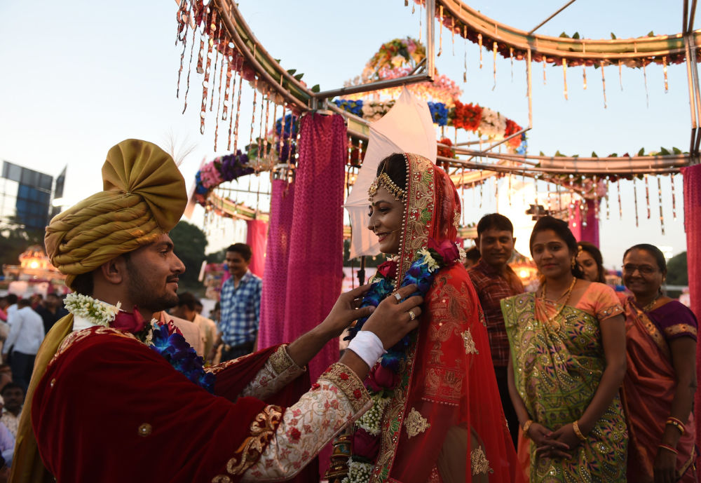 Newly Weds During Mass Wedding Ceremony in India