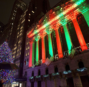 the exterior of the New York Stock Exchange on Thursday evening, Dec. 20, 2018