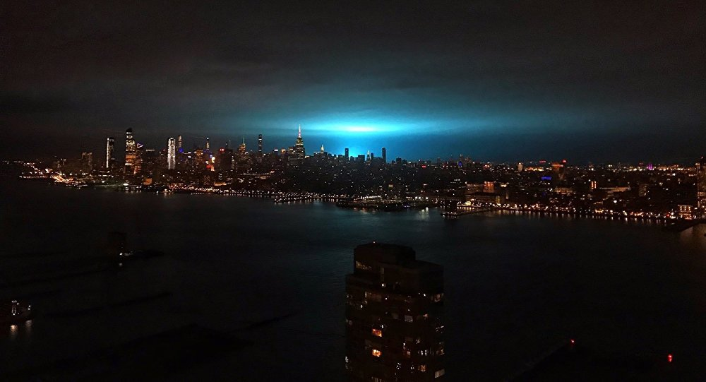 Blue fire seen over Astoria, New York, which was reportedly caused by an explosion at local power plant