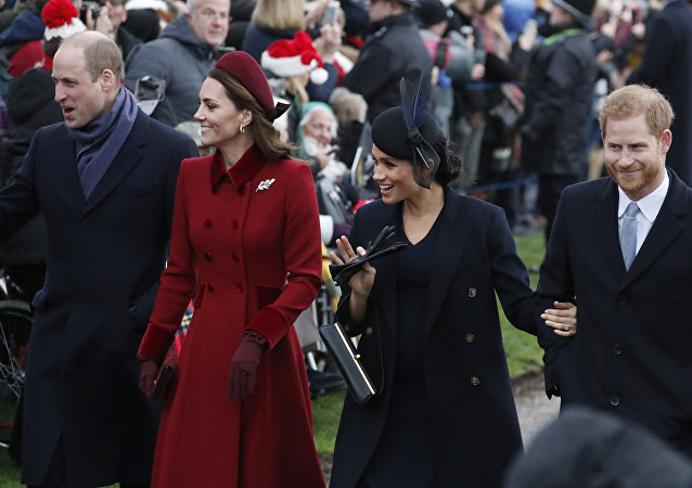 Britain's Prince William, left, Kate, Duchess of Cambridge, second left, Meghan Duchess of Sussex and Prince Harry, right, arrive to attend the Christmas day service at St Mary Magdalene Church in Sandringham in Norfolk, England, Tuesday, Dec. 25, 2018.