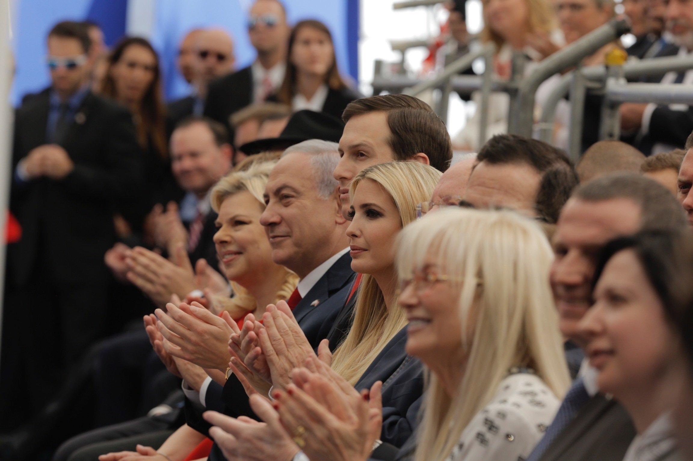 Israel's Prime Minister Benjamin Netanyahu, 2nd left, his wife Sara Netanyahu, left, Senior White House Advisor Jared Kushner, 3rd left, US President's daughter Ivanka Trump, center, US Treasury Secretary Steve Mnuchin, attend the opening ceremony of the new U.S. embassy in Jerusalem, Monday, May 14, 2018