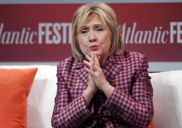 Former Secretary of State Hillary Clinton talks with Jeffrey Goldberg, editor in chief of The Atlantic, during The Atlantic Festival, 2 October 2018, in Washington