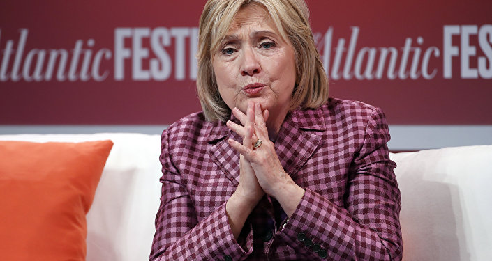 Former Secretary of State Hillary Clinton talks with Jeffrey Goldberg, editor in chief of The Atlantic, during The Atlantic Festival, Tuesday, Oct. 2, 2018, in Washington
