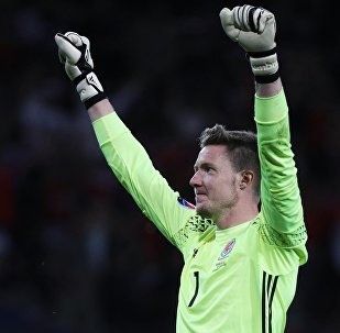 Wayne Hennessey at Euro 2016 celebrating victory over Russia