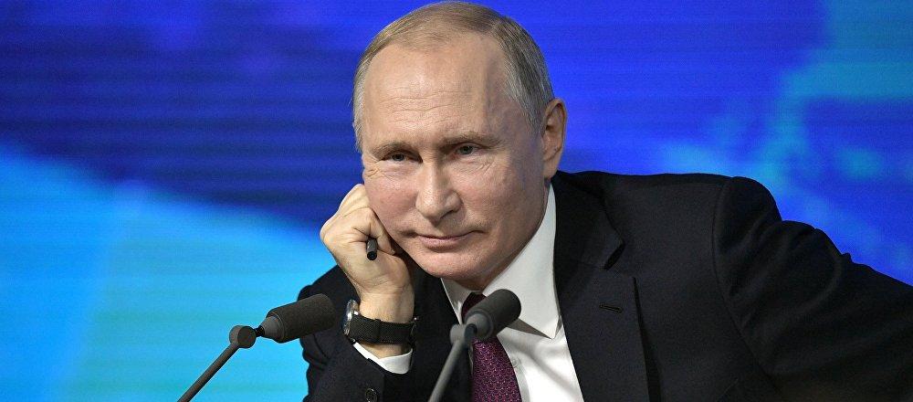 December 20, 2018. Russian President Vladimir Putin at his annual press conference at the World Trade Center on Krasnaya Presnya.