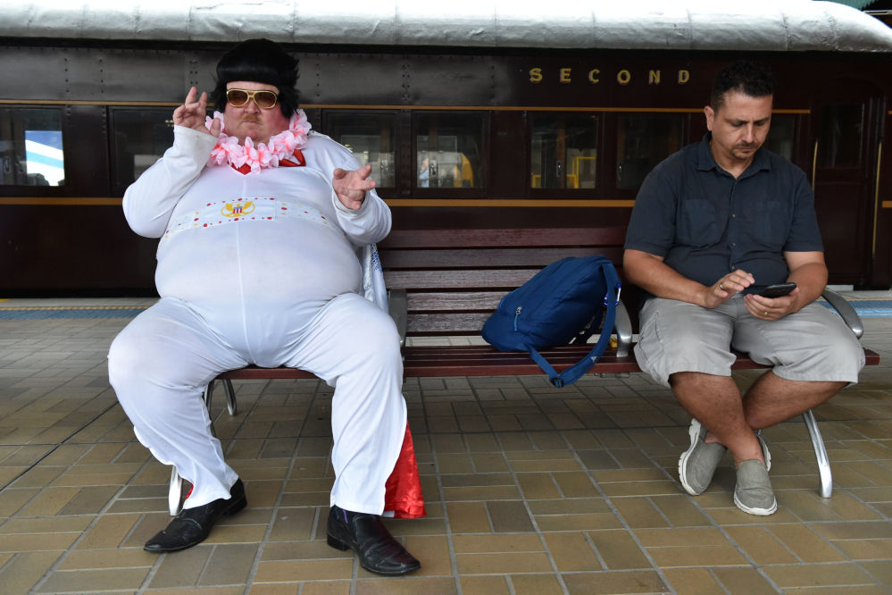 Elvis Fans Wait to Board the Blue Suede Express at Central Station in Sydney