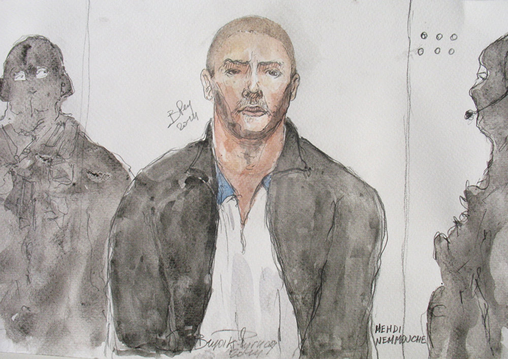 A court artist's sketch of Mehdi Nemmouche, who has gone on trial for the murder of four people at a Jewish Museum in Brussels