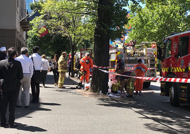 Hazmat and fire crews are seen outside the Indian and French Consulates on St Kilda Road in Melbourne, Australia, January 9, 2019