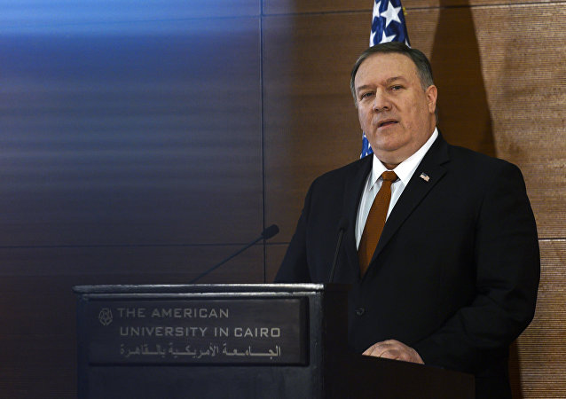 Secretary of State Mike Pompeo speaks to students at the American University Cairo, in the eastern suburb of New Cairo, Egypt, east of the capital, Thursday, Jan. 10, 2019