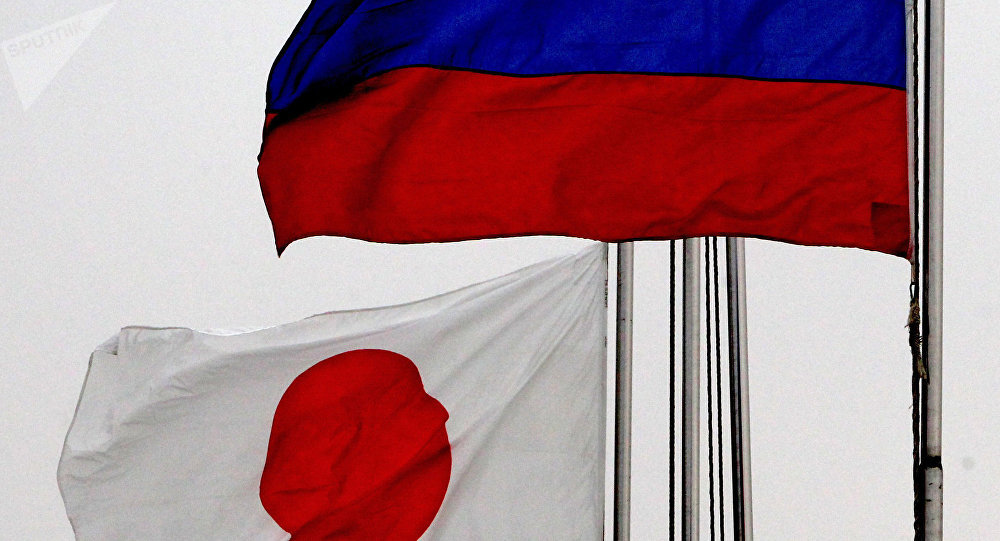 Russian (right) and Japanese national flags