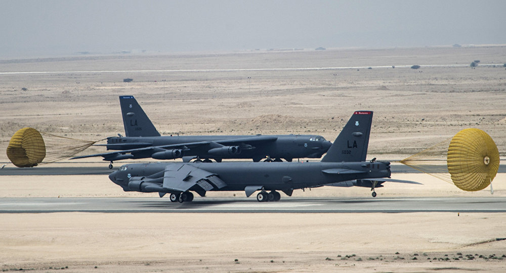 U.S. Air Force B-52 Stratofortress aircraft from Barksdale Air Force Base, Louisiana, arrive at Al Udeid Air Base, Qatar, Saturday, April 9, 2016.