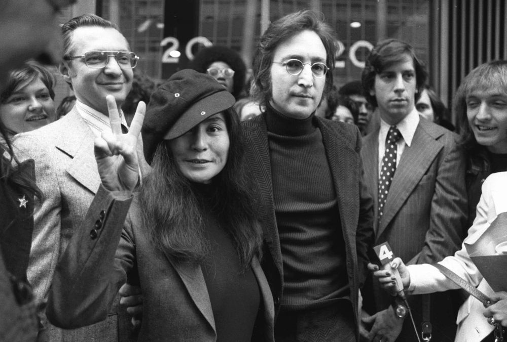 Former Beatle John Lennon and his wife, Yoko Ono