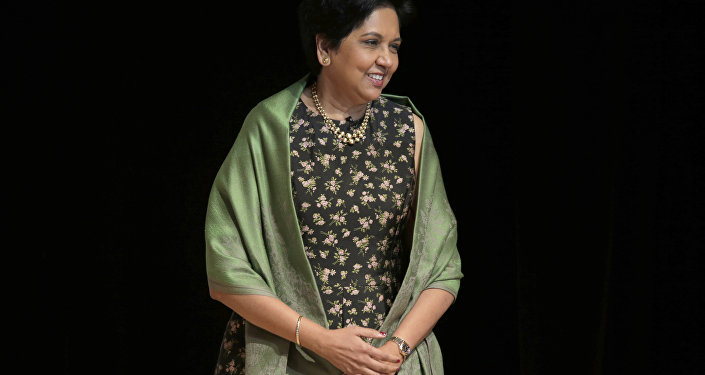 Former PepsiCo CEO Indra Nooyi participates in an event in New York, Tuesday, Oct. 9, 2018