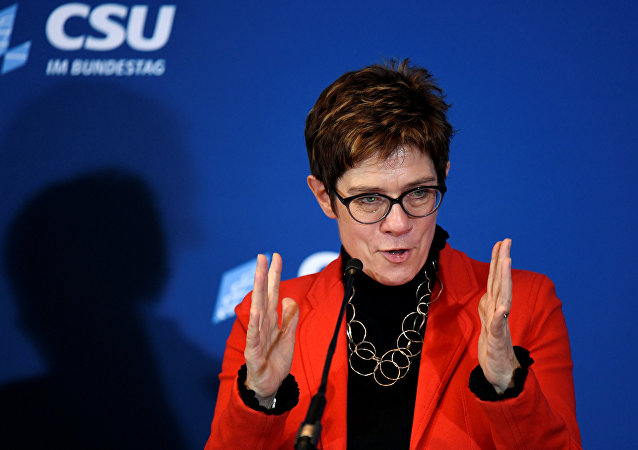 "Christian Democratic Union, CDU party leader Annegret Kramp-Karrenbauer gives a statement after a Christian Social Union party meeting at ""Kloster Seeon"" in Seeon, Germany, January 5, 2019"