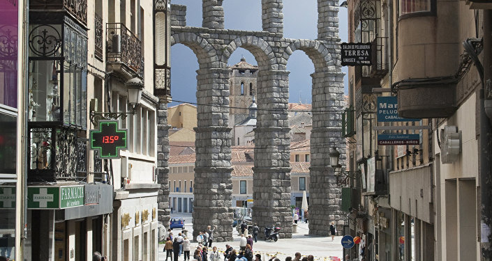 Ancient aqueduct in Segovia, Spain