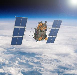 Artist's rendering of a Russian Canopus-B satellite in Earth orbit.